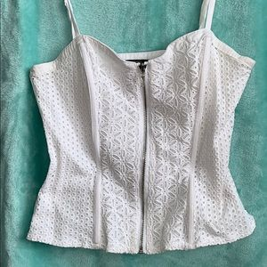 Forever 21 White Lace Zip Corset Top